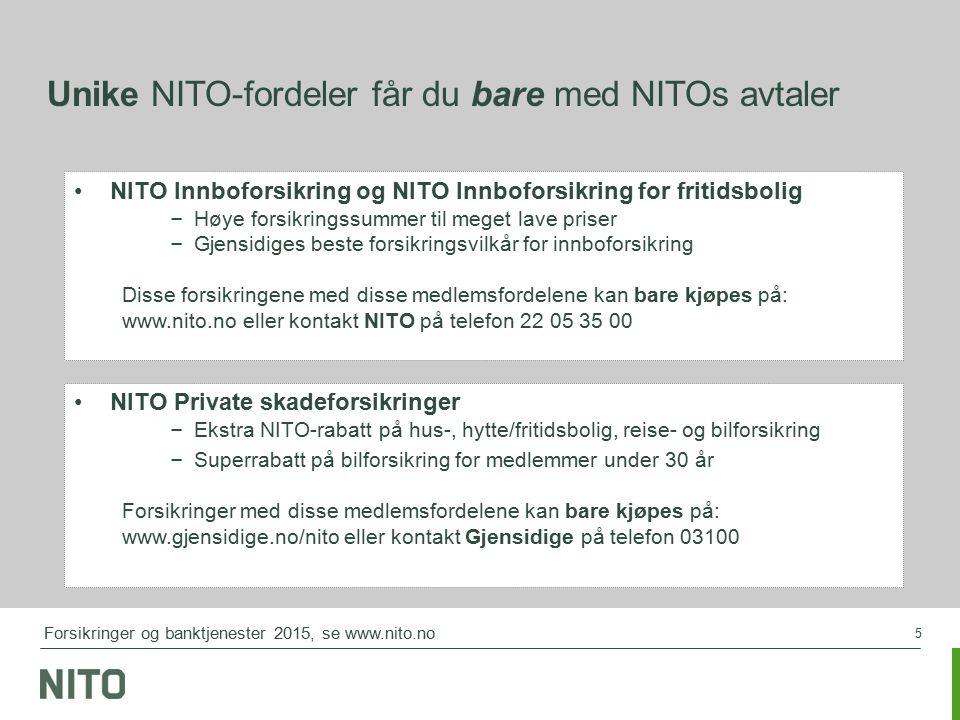 5 NITO Innboforsikring og NITO Innboforsikring for fritidsbolig – Høye forsikringssummer til meget lave priser – Gjensidiges beste forsikringsvilkår for innboforsikring Disse forsikringene med disse medlemsfordelene kan bare kjøpes på: www.nito.no eller kontakt NITO på telefon 22 05 35 00 Unike NITO-fordeler får du bare med NITOs avtaler NITO Private skadeforsikringer – Ekstra NITO-rabatt på hus-, hytte/fritidsbolig, reise- og bilforsikring – Superrabatt på bilforsikring for medlemmer under 30 år Forsikringer med disse medlemsfordelene kan bare kjøpes på: www.gjensidige.no/nito eller kontakt Gjensidige på telefon 03100 Forsikringer og banktjenester 2015, se www.nito.no