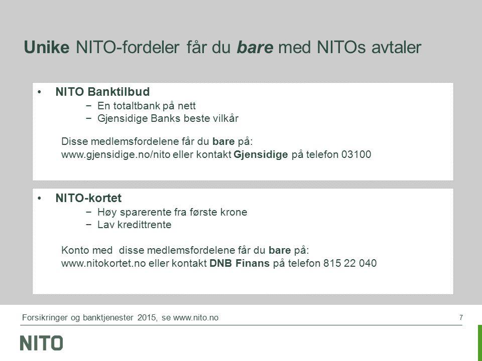 7 Unike NITO-fordeler får du bare med NITOs avtaler NITO Banktilbud – En totaltbank på nett – Gjensidige Banks beste vilkår Disse medlemsfordelene får du bare på: www.gjensidige.no/nito eller kontakt Gjensidige på telefon 03100 NITO-kortet – Høy sparerente fra første krone – Lav kredittrente Konto med disse medlemsfordelene får du bare på: www.nitokortet.no eller kontakt DNB Finans på telefon 815 22 040 Forsikringer og banktjenester 2015, se www.nito.no