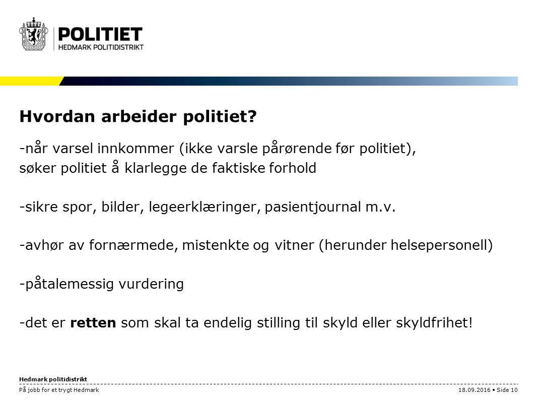 Hedmark politidistrikt På jobb for et trygt Hedmark18.09.2016 Side 10 Hvordan arbeider politiet.