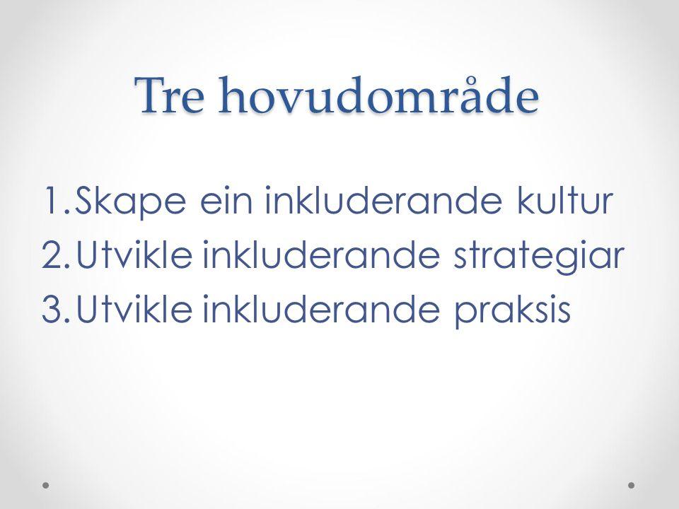Tre hovudområde 1.Skape ein inkluderande kultur 2.Utvikle inkluderande strategiar 3.Utvikle inkluderande praksis