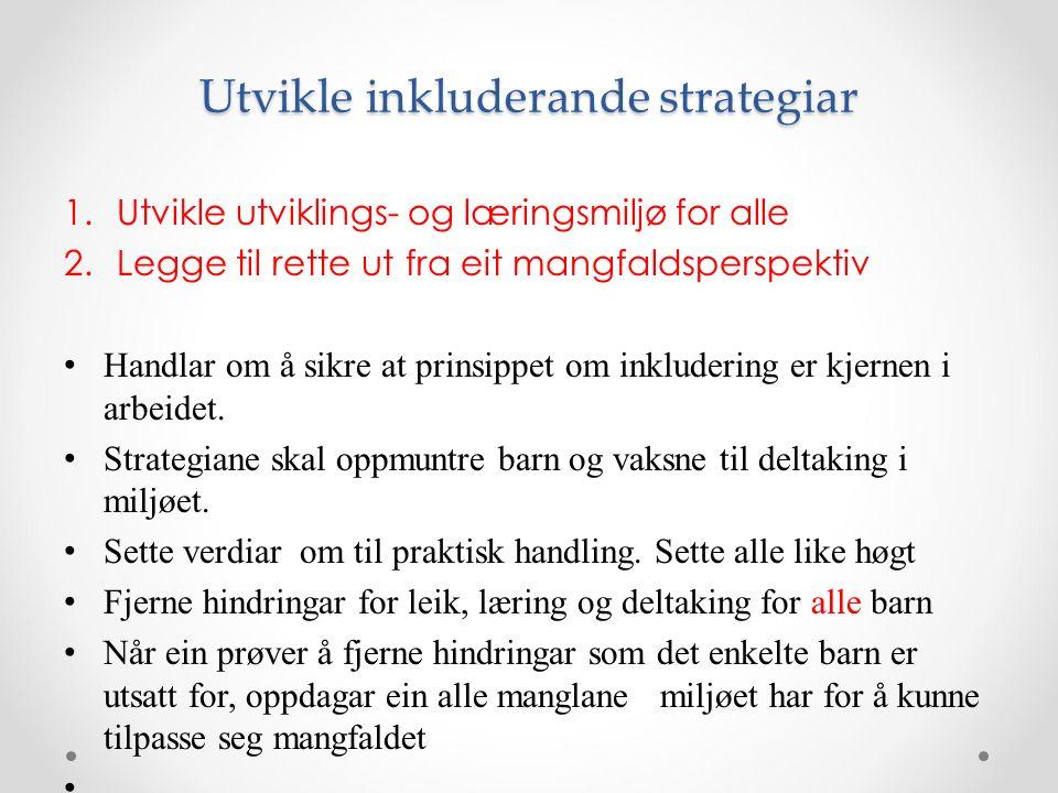 Utvikle inkluderande strategiar 1.Utvikle utviklings- og læringsmiljø for alle 2.Legge til rette ut fra eit mangfaldsperspektiv Handlar om å sikre at prinsippet om inkludering er kjernen i arbeidet.