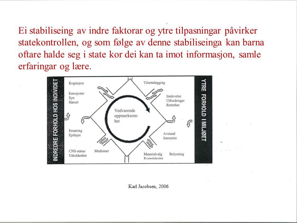 Karl Jacobsen, 2006 Ei stabiliseing av indre faktorar og ytre tilpasningar påvirker statekontrollen, og som følge av denne stabiliseinga kan barna oftare halde seg i state kor dei kan ta imot informasjon, samle erfaringar og lære.