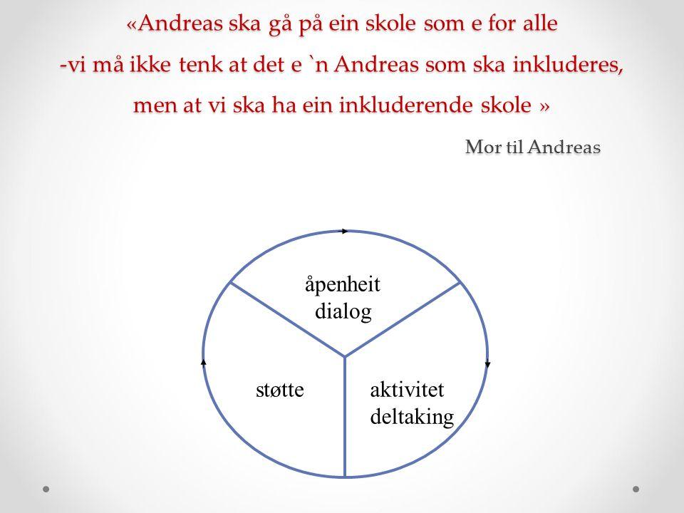 åpenheit dialog støtteaktivitet deltaking «Andreas ska gå på ein skole som e for alle -vi må ikke tenk at det e `n Andreas som ska inkluderes, men at