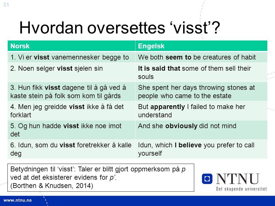 31 Hvordan oversettes 'visst'. NorskEngelsk 1.