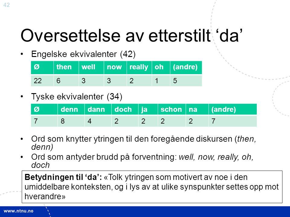 42 Oversettelse av etterstilt 'da' Engelske ekvivalenter (42) Tyske ekvivalenter (34) Ord som knytter ytringen til den foregående diskursen (then, denn) Ord som antyder brudd på forventning: well, now, really, oh, doch Øthenwellnowreallyoh(andre) 22633215 Ødenndanndochjaschonna(andre) 78422227 Betydningen til 'da': «Tolk ytringen som motivert av noe i den umiddelbare konteksten, og i lys av at ulike synspunkter settes opp mot hverandre»