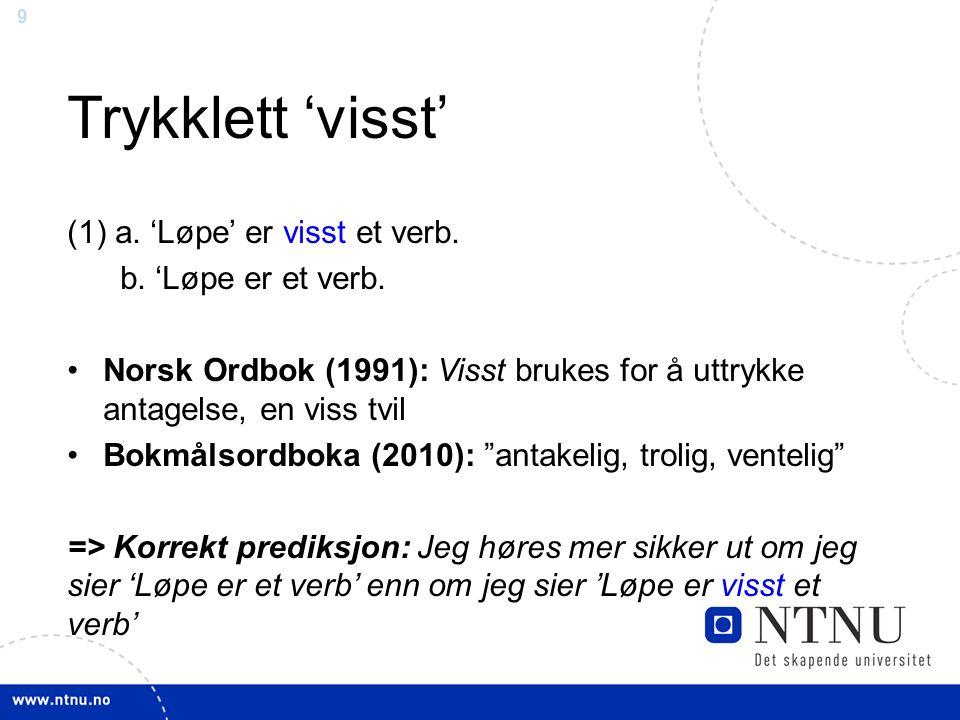 9 Trykklett 'visst' (1)a. 'Løpe' er visst et verb.