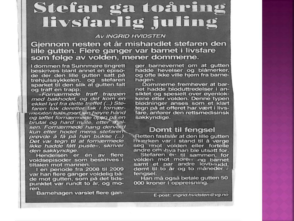 Grov vold, terror og kontroll  Høyfrekvent vold  Seksualisert vold  Barnet eksponert for volden og mangelfull omsorg  Barnet direkte utsatt for