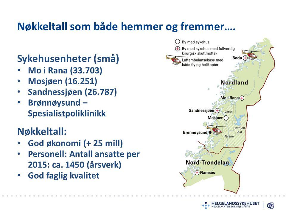 Sykehusenheter (små) Mo i Rana (33.703) Mosjøen (16.251) Sandnessjøen (26.787) Brønnøysund – Spesialistpoliklinikk Nøkkeltall: God økonomi (+ 25 mill) Personell: Antall ansatte per 2015: ca.