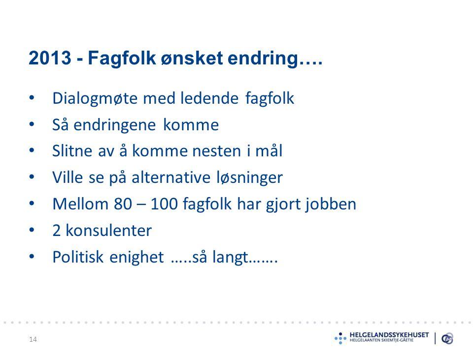 2013 - Fagfolk ønsket endring….