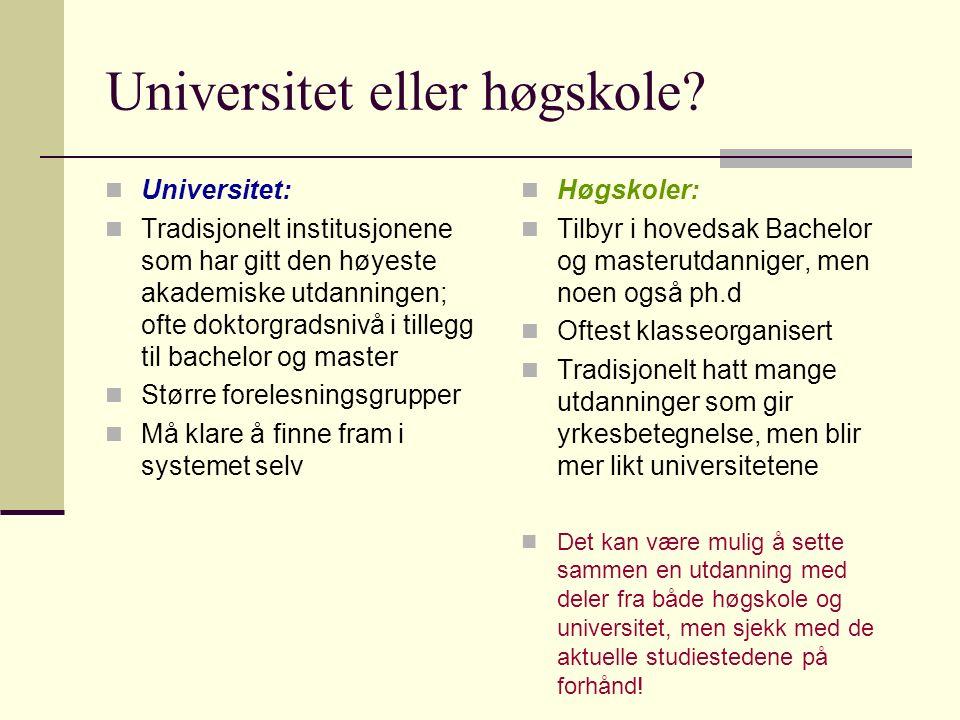 Universitet eller høgskole.