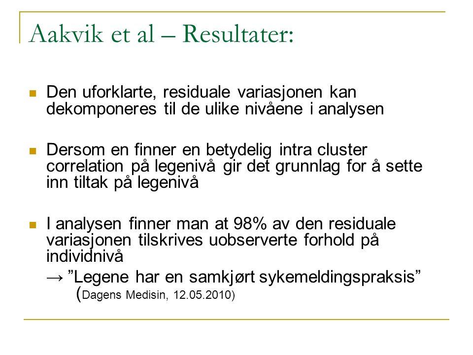 Aakvik et al – Resultater: Den uforklarte, residuale variasjonen kan dekomponeres til de ulike nivåene i analysen Dersom en finner en betydelig intra
