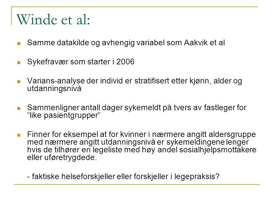 Winde et al: Samme datakilde og avhengig variabel som Aakvik et al Sykefravær som starter i 2006 Varians-analyse der individ er stratifisert etter kjø