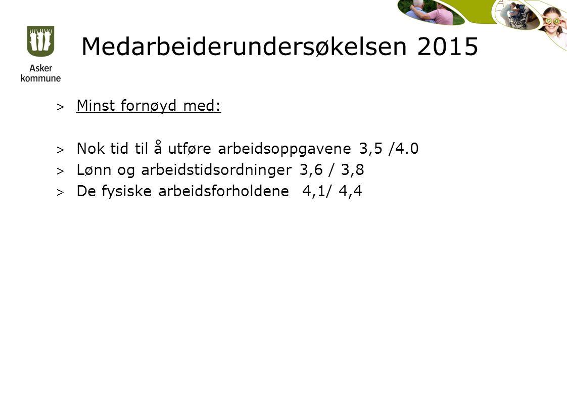 Medarbeiderundersøkelsen 2015 > Minst fornøyd med: > Nok tid til å utføre arbeidsoppgavene 3,5 /4.0 > Lønn og arbeidstidsordninger 3,6 / 3,8 > De fysiske arbeidsforholdene 4,1/ 4,4