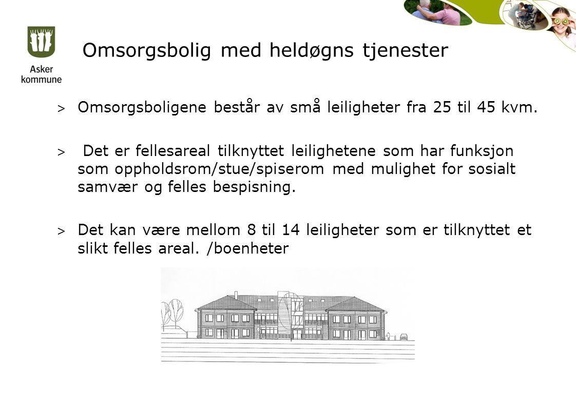 Omsorgsbolig med heldøgns tjenester > Omsorgsboligene består av små leiligheter fra 25 til 45 kvm.