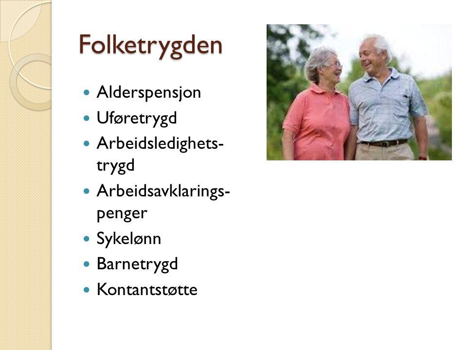 Folketrygden Alderspensjon Uføretrygd Arbeidsledighets- trygd Arbeidsavklarings- penger Sykelønn Barnetrygd Kontantstøtte
