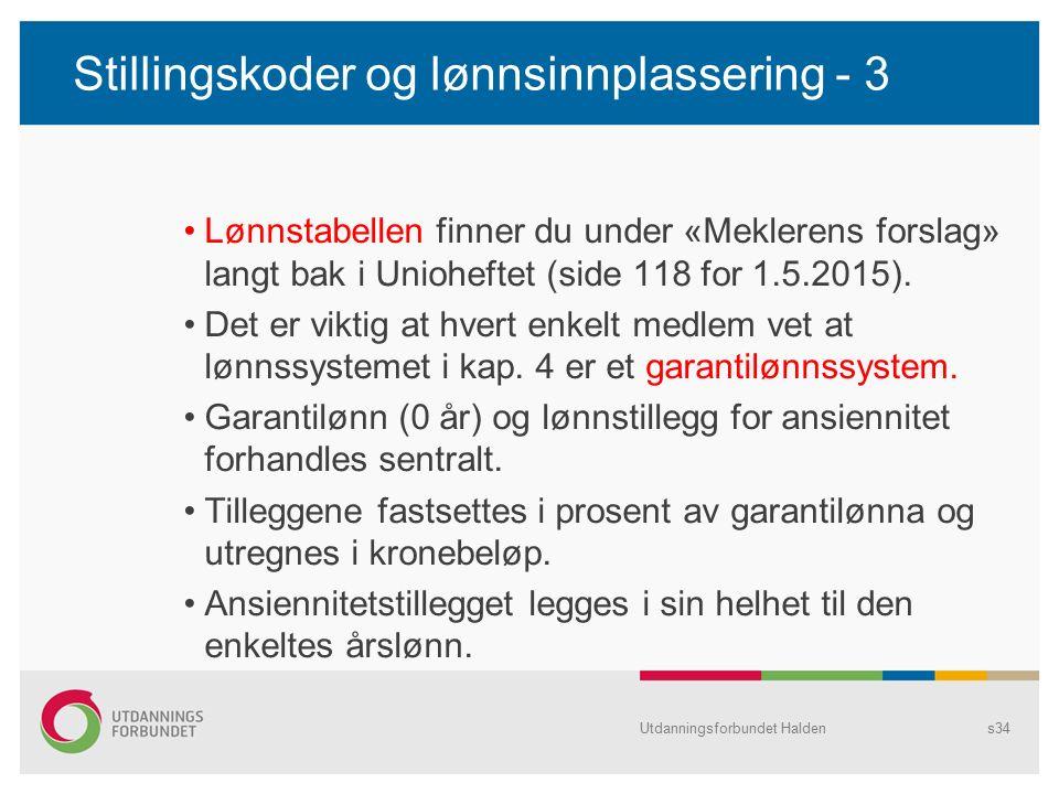 Stillingskoder og lønnsinnplassering - 3 Lønnstabellen finner du under «Meklerens forslag» langt bak i Unioheftet (side 118 for 1.5.2015).