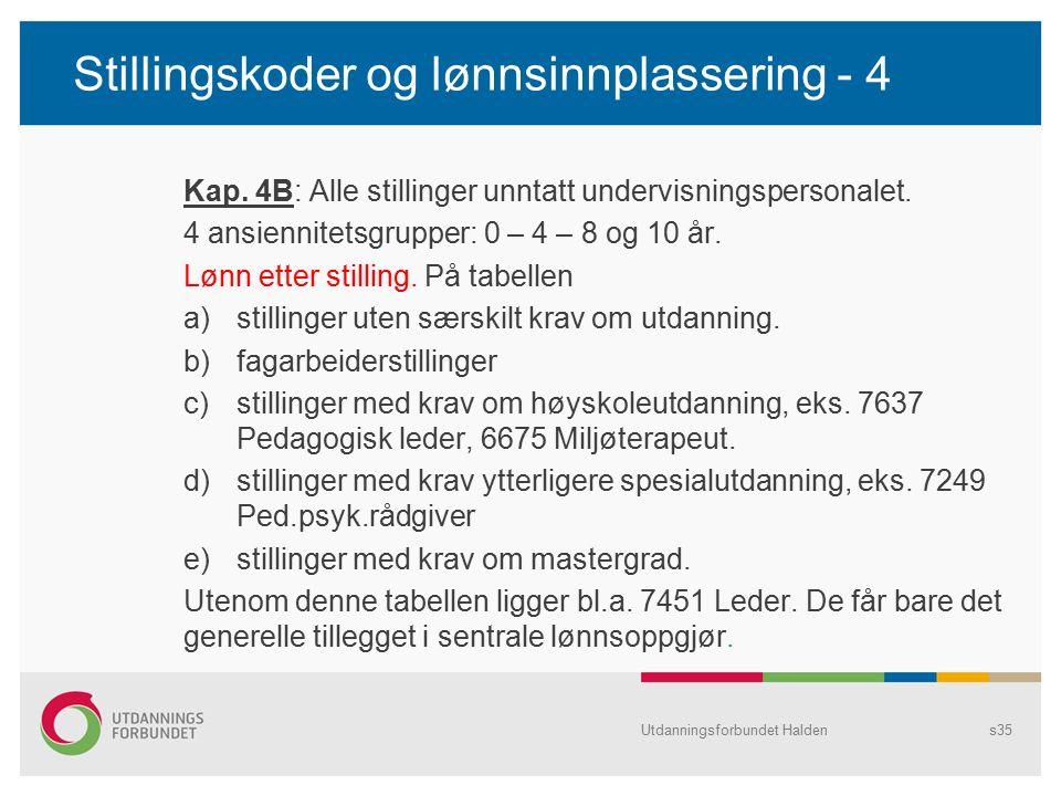 Stillingskoder og lønnsinnplassering - 4 Kap. 4B: Alle stillinger unntatt undervisningspersonalet. 4 ansiennitetsgrupper: 0 – 4 – 8 og 10 år. Lønn ett