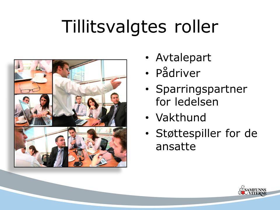 Tillitsvalgtes roller Avtalepart Pådriver Sparringspartner for ledelsen Vakthund Støttespiller for de ansatte