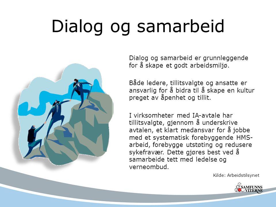 Dialog og samarbeid Dialog og samarbeid er grunnleggende for å skape et godt arbeidsmiljø. Både ledere, tillitsvalgte og ansatte er ansvarlig for å bi
