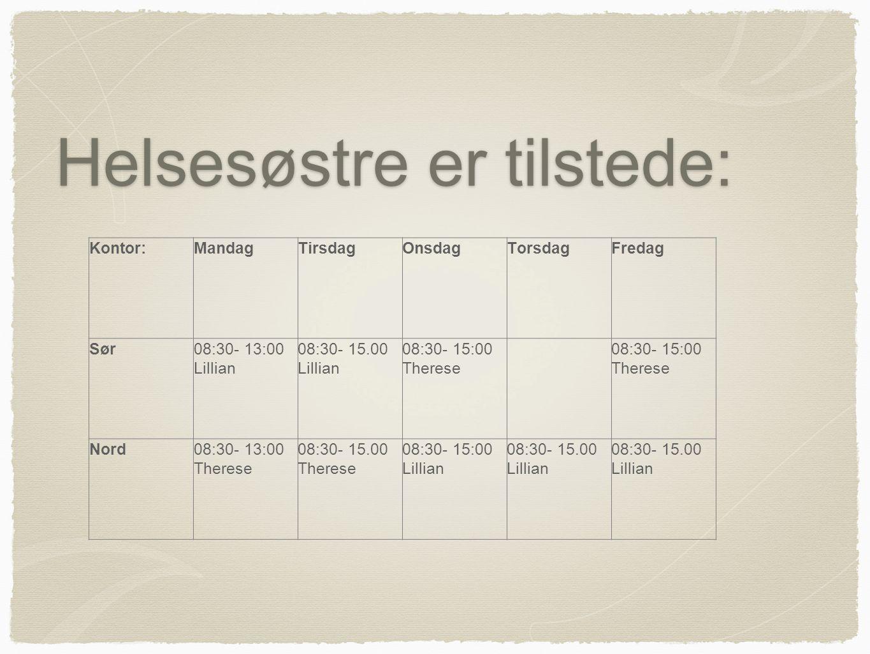 Helsesøstre er tilstede: Kontor:MandagTirsdagOnsdagTorsdagFredag Sør08:30- 13:00 Lillian 08:30- 15.00 Lillian 08:30- 15:00 Therese 08:30- 15:00 Theres