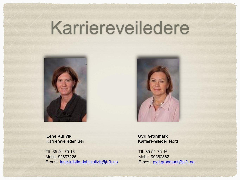 Karriereveiledere Gyri Grønmark Karriereveileder Nord Tlf: 35 91 75 16 Mobil: 99562862 E-post: gyri.gronmark@t-fk.nogyri.gronmark@t-fk.no Lene Kullvik