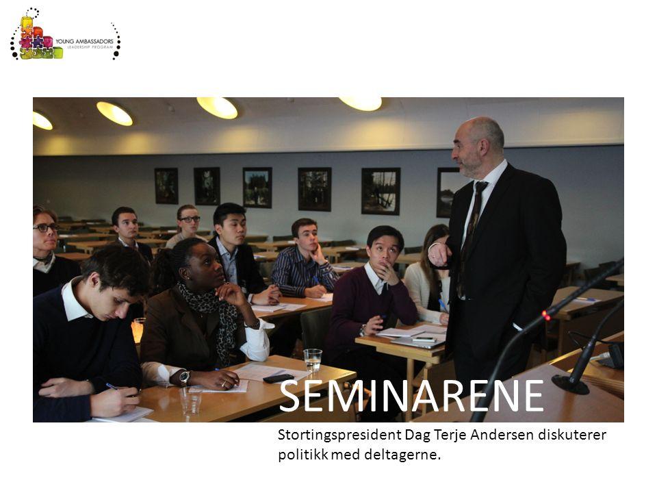 SEMINARENE Stortingspresident Dag Terje Andersen diskuterer politikk med deltagerne.