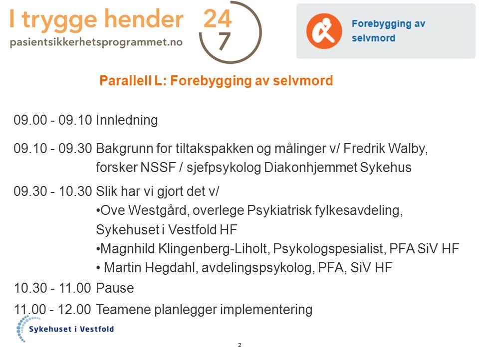 Parallell L: Forebygging av selvmord 09.00 - 09.10Innledning 09.10 - 09.30 Bakgrunn for tiltakspakken og målinger v/ Fredrik Walby, forsker NSSF / sje