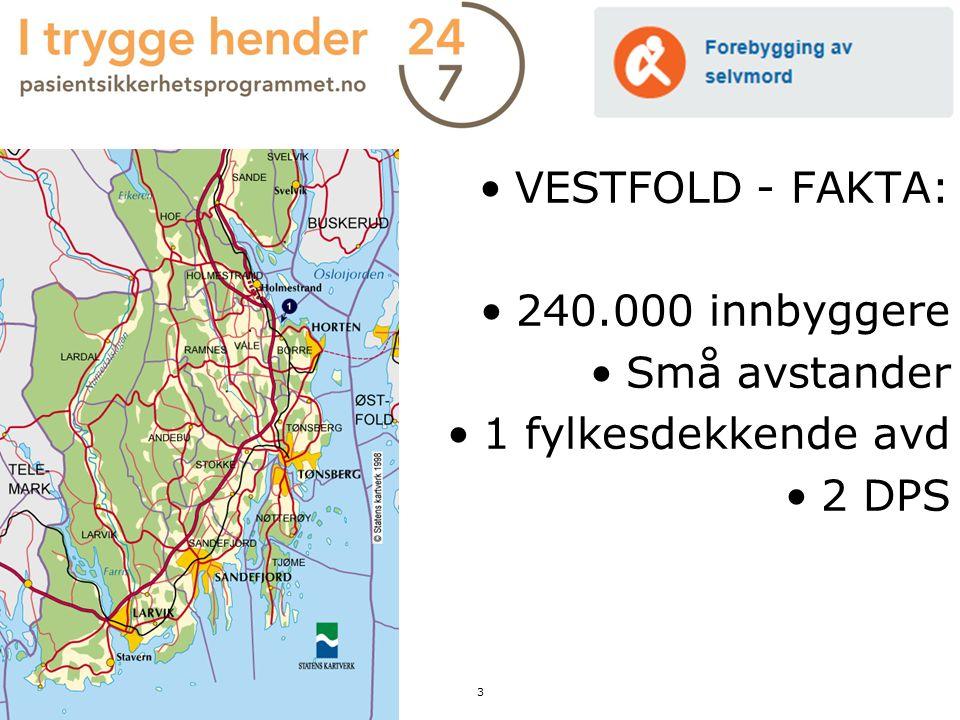 VESTFOLD - FAKTA: 240.000 innbyggere Små avstander 1 fylkesdekkende avd 2 DPS 3