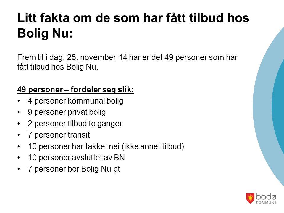 Litt fakta om de som har fått tilbud hos Bolig Nu: Frem til i dag, 25.