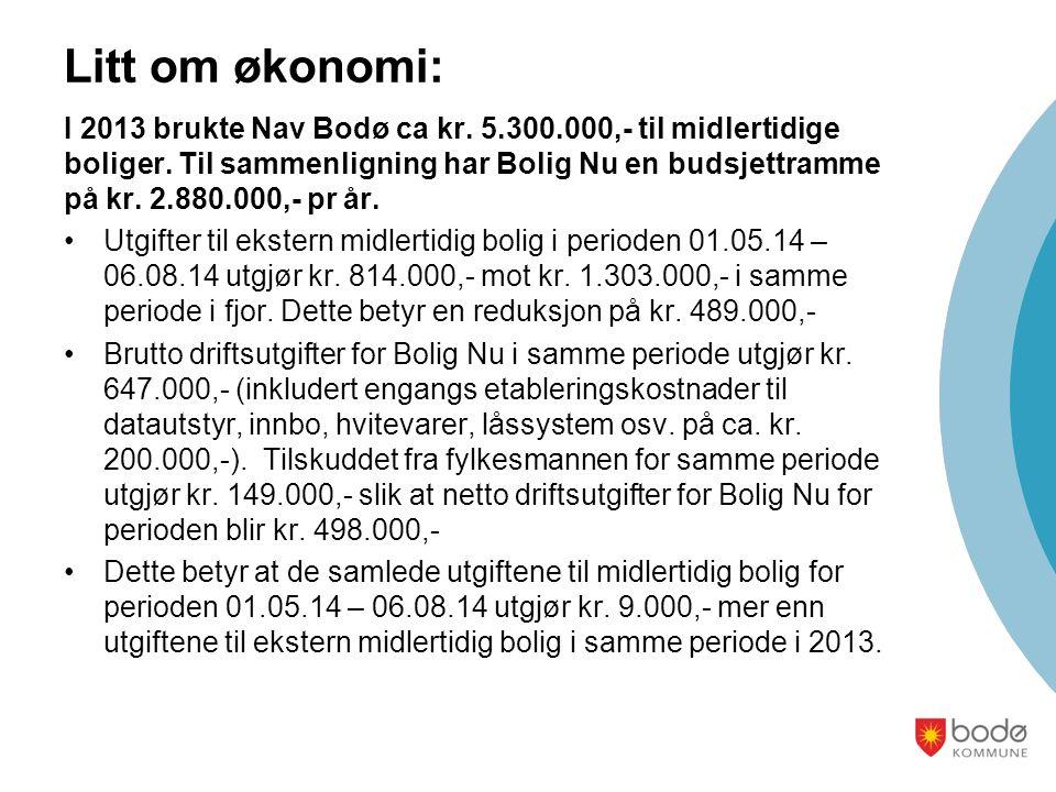 Litt om økonomi: I 2013 brukte Nav Bodø ca kr. 5.300.000,- til midlertidige boliger.