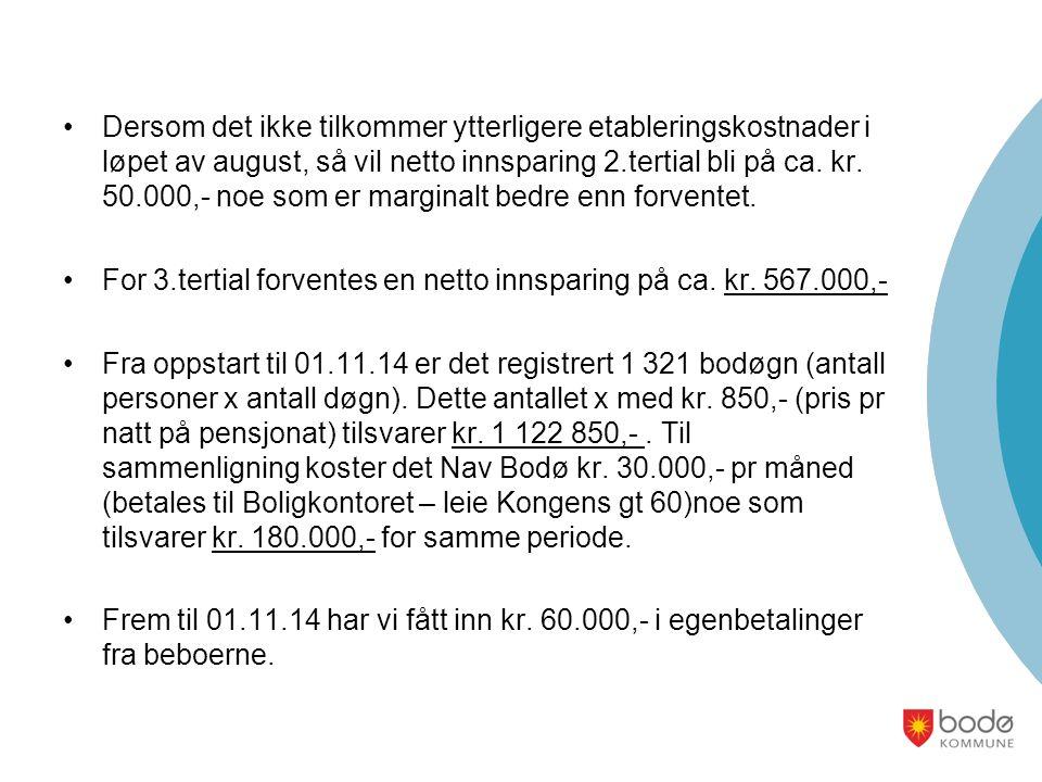 Dersom det ikke tilkommer ytterligere etableringskostnader i løpet av august, så vil netto innsparing 2.tertial bli på ca.