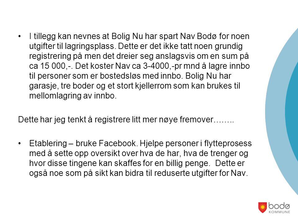 I tillegg kan nevnes at Bolig Nu har spart Nav Bodø for noen utgifter til lagringsplass.