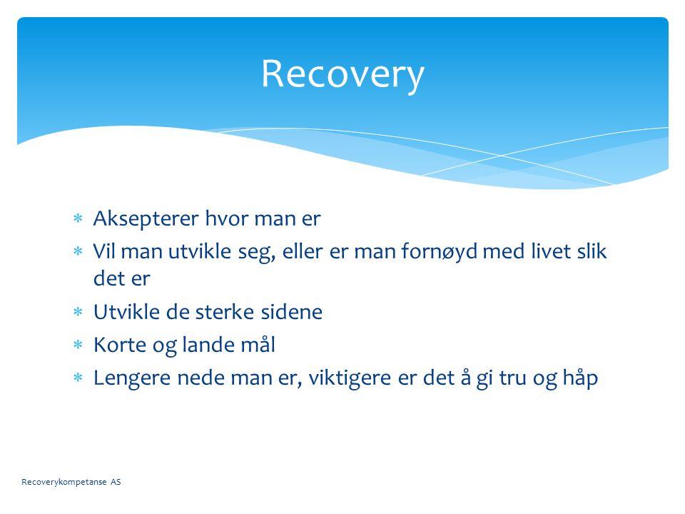  Aksepterer hvor man er  Vil man utvikle seg, eller er man fornøyd med livet slik det er  Utvikle de sterke sidene  Korte og lande mål  Lengere nede man er, viktigere er det å gi tru og håp Recovery Recoverykompetanse AS