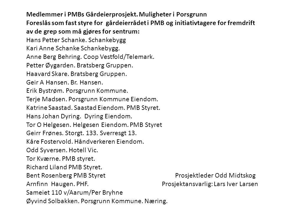 Medlemmer i PMBs Gårdeierprosjekt. Muligheter i Porsgrunn Foreslås som fast styre for gårdeierrådet i PMB og initiativtagere for fremdrift av de grep