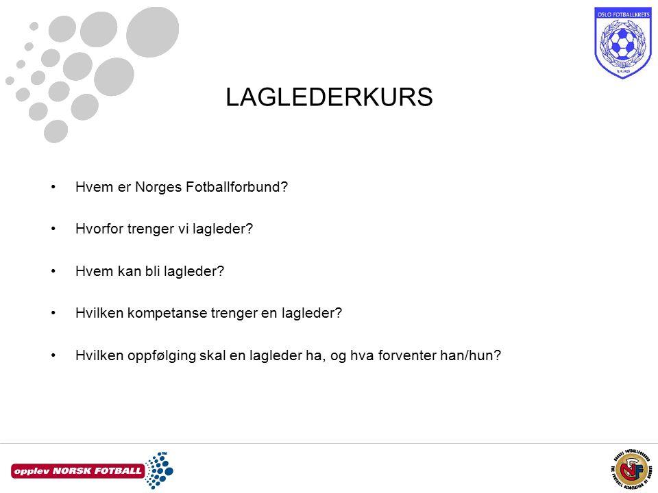 LAGLEDERKURS Hvem er Norges Fotballforbund. Hvorfor trenger vi lagleder.