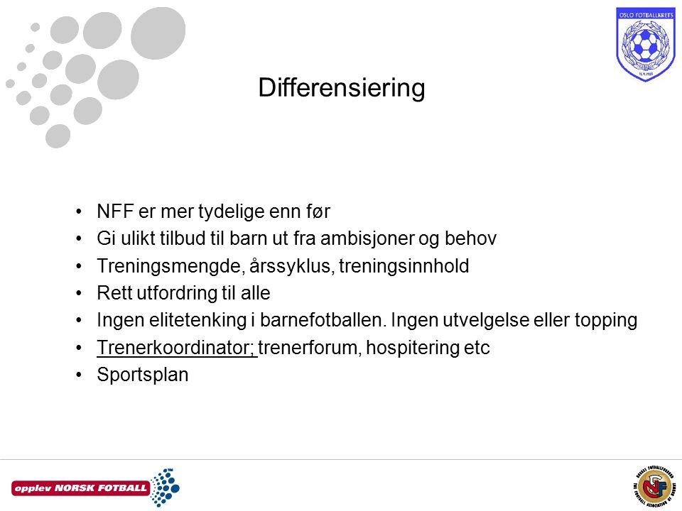 Differensiering NFF er mer tydelige enn før Gi ulikt tilbud til barn ut fra ambisjoner og behov Treningsmengde, årssyklus, treningsinnhold Rett utfordring til alle Ingen elitetenking i barnefotballen.