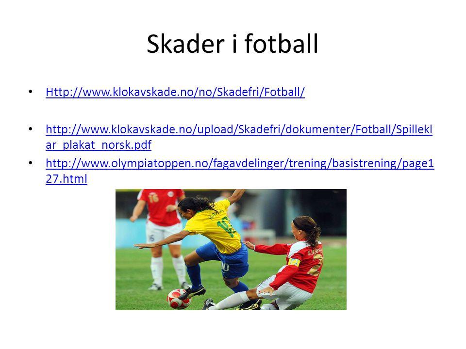 Skader i fotball Http://www.klokavskade.no/no/Skadefri/Fotball/ http://www.klokavskade.no/upload/Skadefri/dokumenter/Fotball/Spillekl ar_plakat_norsk.pdf http://www.klokavskade.no/upload/Skadefri/dokumenter/Fotball/Spillekl ar_plakat_norsk.pdf http://www.olympiatoppen.no/fagavdelinger/trening/basistrening/page1 27.html http://www.olympiatoppen.no/fagavdelinger/trening/basistrening/page1 27.html