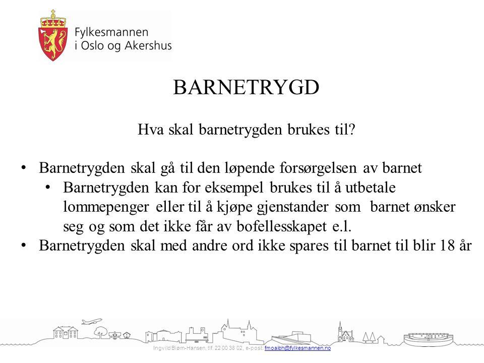 Ingvild Biørn-Hansen, tlf. 22 00 38 02, e-post: fmoaibh@fylkesmannen.nofmoaibh@fylkesmannen.no BARNETRYGD Hva skal barnetrygden brukes til? Barnetrygd