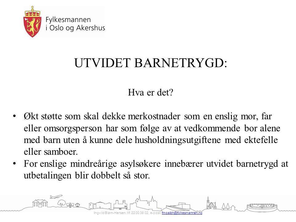 Ingvild Biørn-Hansen, tlf. 22 00 38 02, e-post: fmoaibh@fylkesmannen.nofmoaibh@fylkesmannen.no UTVIDET BARNETRYGD: Hva er det? Økt støtte som skal dek