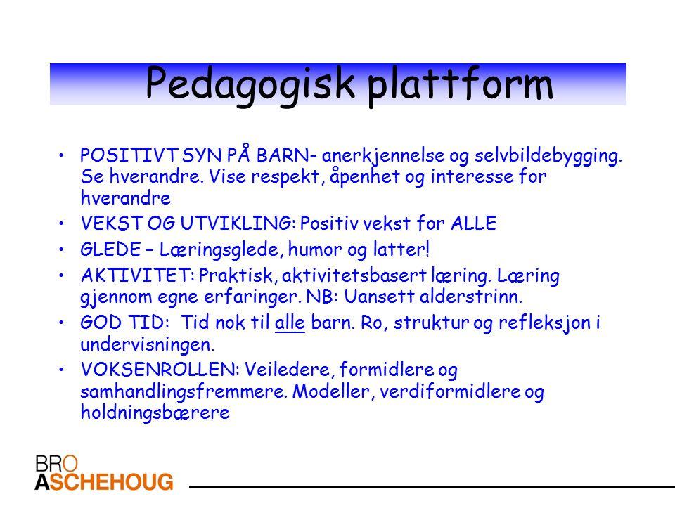 Pedagogisk plattform POSITIVT SYN PÅ BARN- anerkjennelse og selvbildebygging.