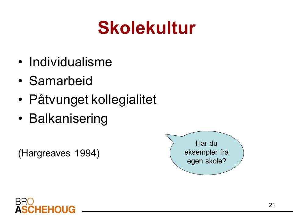 21 Skolekultur Individualisme Samarbeid Påtvunget kollegialitet Balkanisering (Hargreaves 1994) Har du eksempler fra egen skole