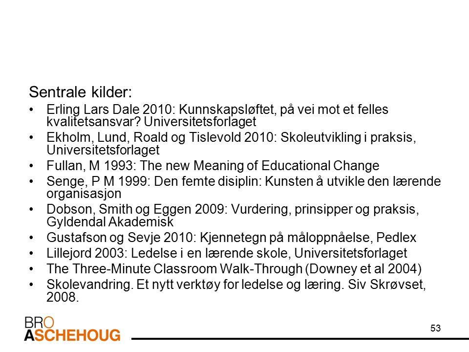 53 Sentrale kilder: Erling Lars Dale 2010: Kunnskapsløftet, på vei mot et felles kvalitetsansvar.