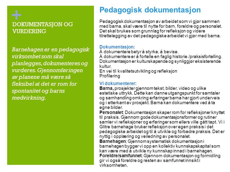 + DOKUMENTASJON OG VURDERING Pedagogisk dokumentasjon Pedagogisk dokumentasjon av arbeidet som vi gjør sammen med barna, skal være til nytte for barn, foreldre og personalet.