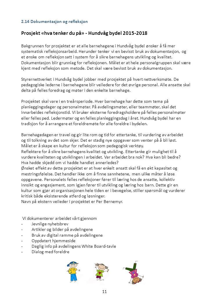 11 2.14 Dokumentasjon og refleksjon Prosjekt «hva tenker du på» - Hundvåg bydel 2015-2018 Bakgrunnen for prosjektet er at alle barnehagene i Hundvåg bydel ønsker å få mer systematisk refleksjonsarbeid.
