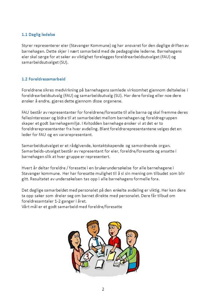13 Disse områdene skal implementeres i alle barnehagene i Stavanger i løpet av en 5 års periode.