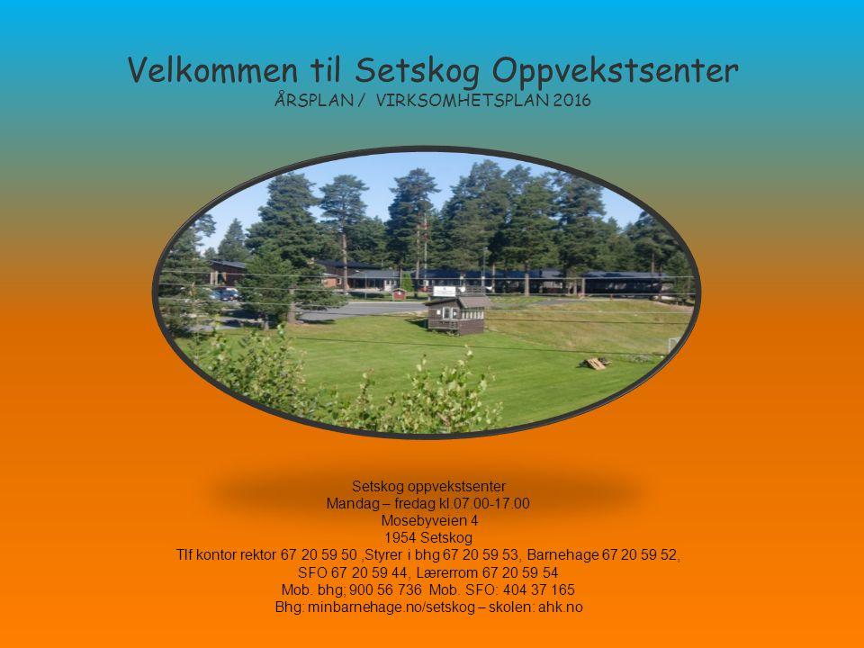Velkommen til Setskog Oppvekstsenter ÅRSPLAN / VIRKSOMHETSPLAN 2016 Setskog oppvekstsenter Mandag – fredag kl.07.00-17.00 Mosebyveien 4 1954 Setskog T
