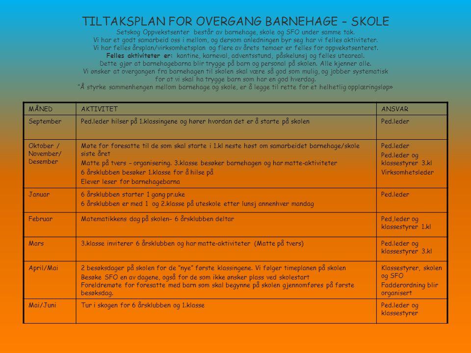 TILTAKSPLAN FOR OVERGANG BARNEHAGE – SKOLE Setskog Oppvekstsenter består av barnehage, skole og SFO under samme tak.