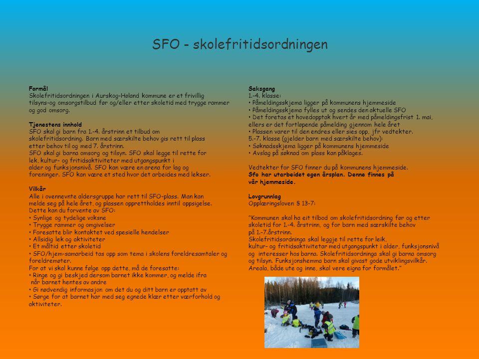 SFO - skolefritidsordningen Formål Skolefritidsordningen i Aurskog-Høland kommune er et frivillig tilsyns-og omsorgstilbud før og/eller etter skoletid med trygge rammer og god omsorg.