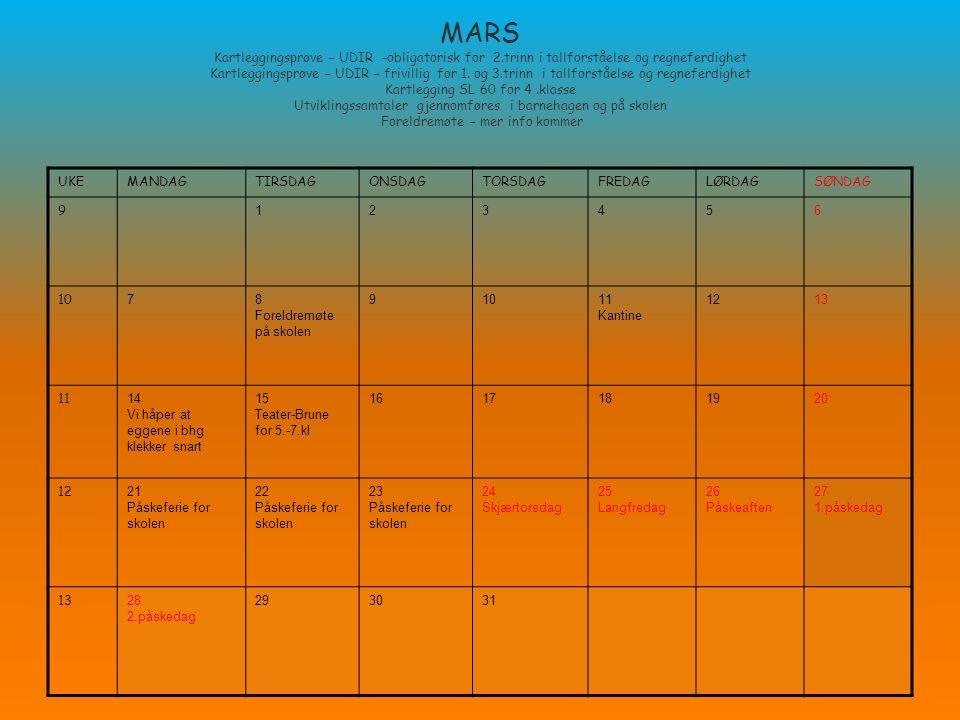 MARS Kartleggingsprøve – UDIR -obligatorisk for 2.trinn i tallforståelse og regneferdighet Kartleggingsprøve – UDIR – frivillig for 1. og 3.trinn i ta
