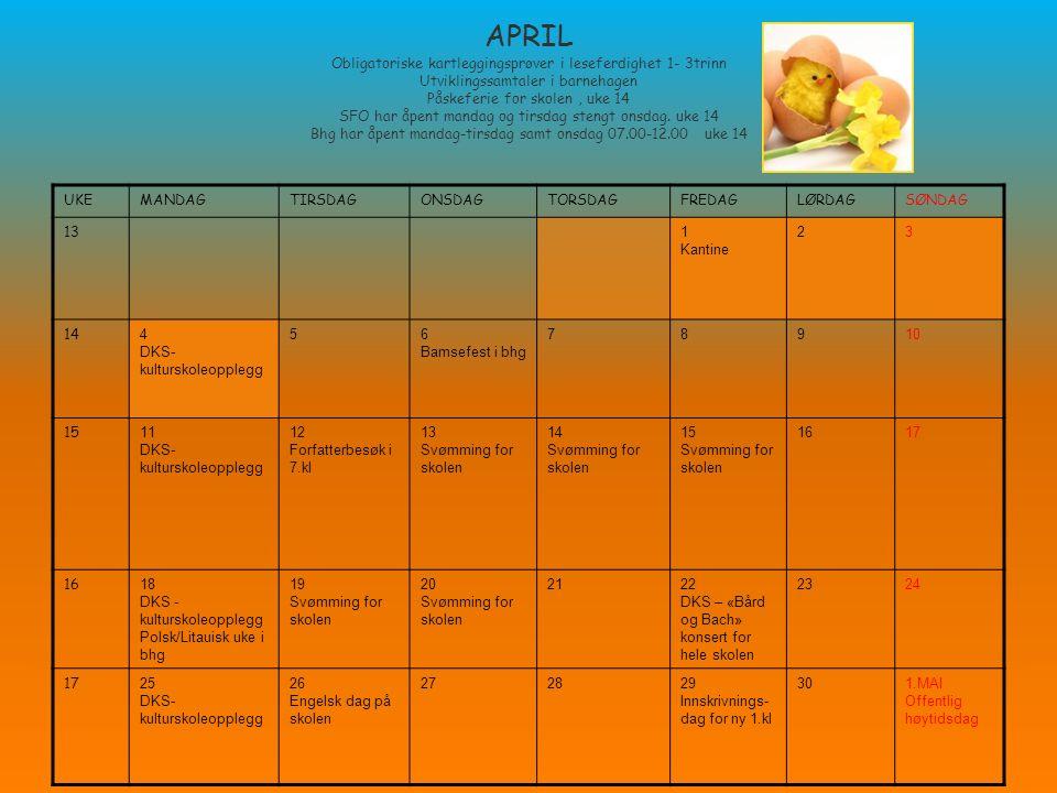 APRIL Obligatoriske kartleggingsprøver i leseferdighet 1- 3trinn Utviklingssamtaler i barnehagen Påskeferie for skolen, uke 14 SFO har åpent mandag og